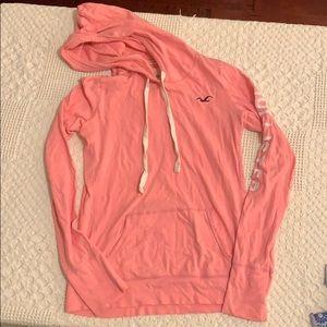 Hollister pink long sleeve hooded shirt